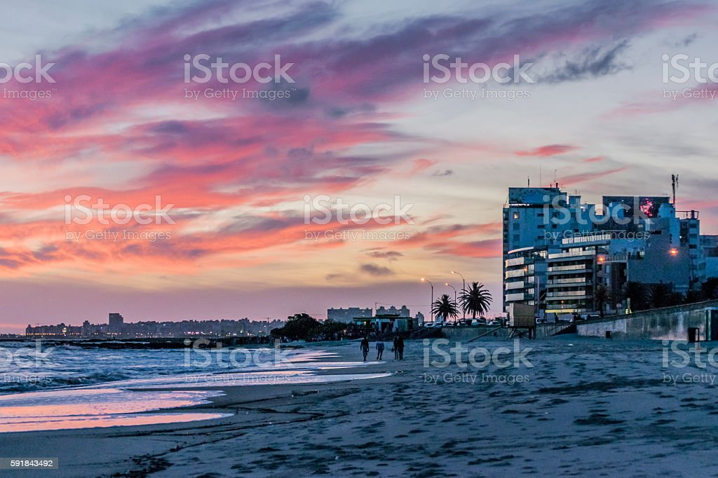 Sunset Scene at Beach Montevideo Uruguay stock photo
