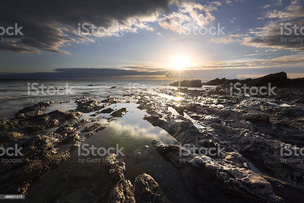 Sunset scene at Whitsand Bay in Cornwall. royalty-free stock photo