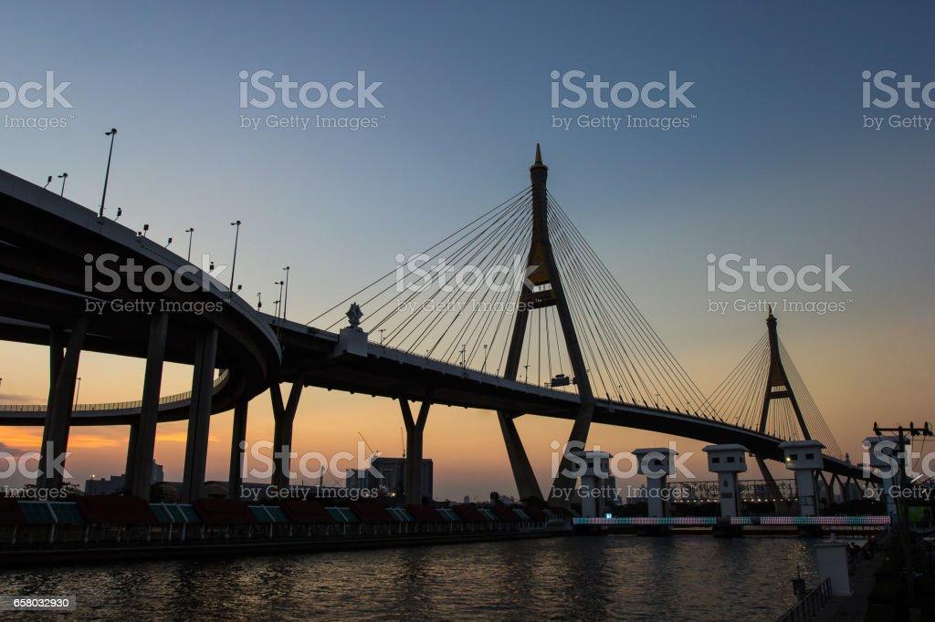 Sunset Scene Bhumibol Bridge, Bangkok, Thailand stock photo