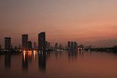 sunset scenery by the Chao Phraya riverside