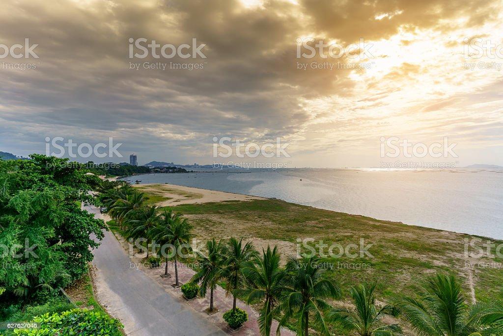 Sunset scenic in Pattaya beach , Thailand stock photo