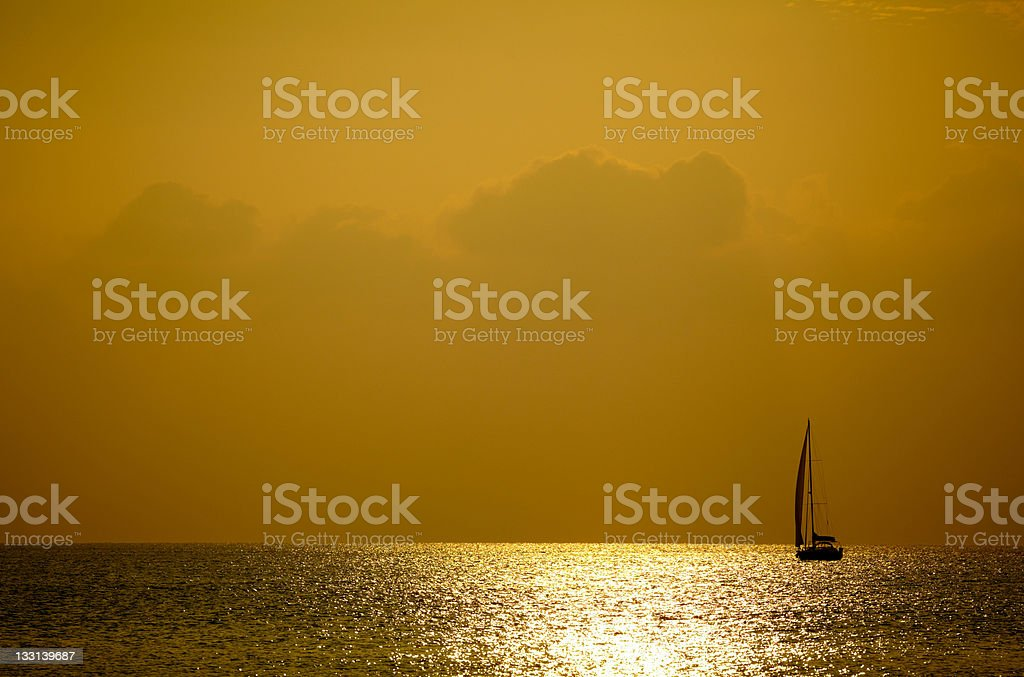 Sunset sea and yacht royalty-free stock photo