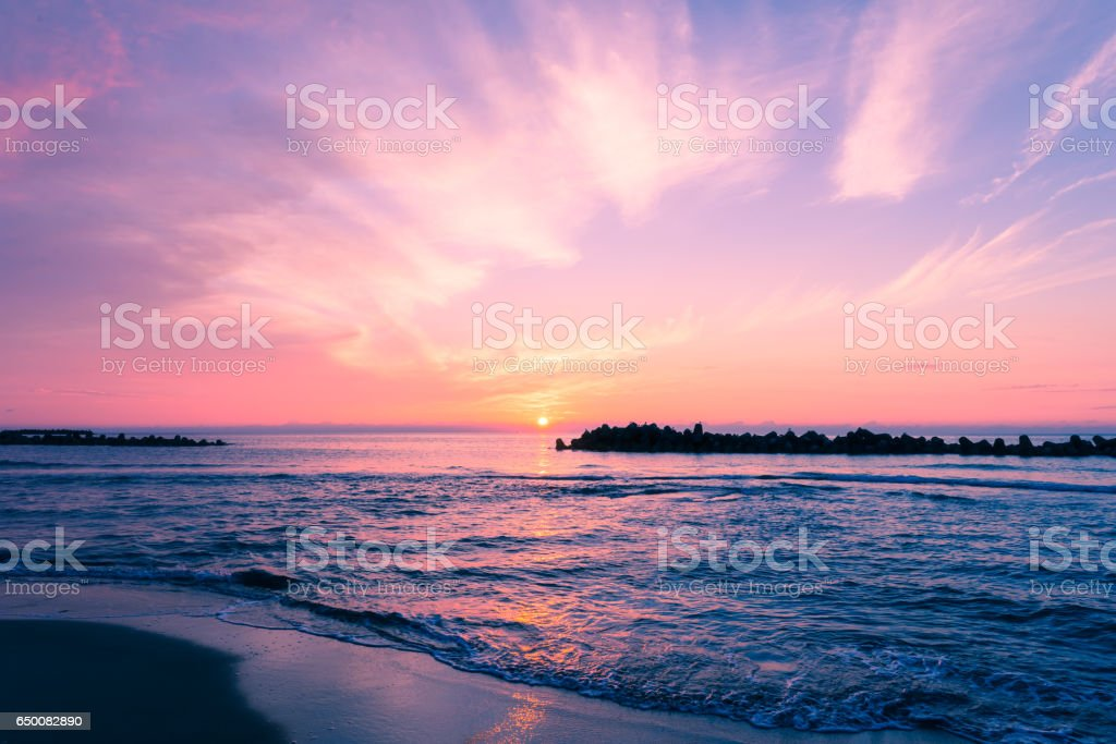 Sunset Sea in Yunohama Beach,Tsuruoka,Yamagata,Japan stock photo