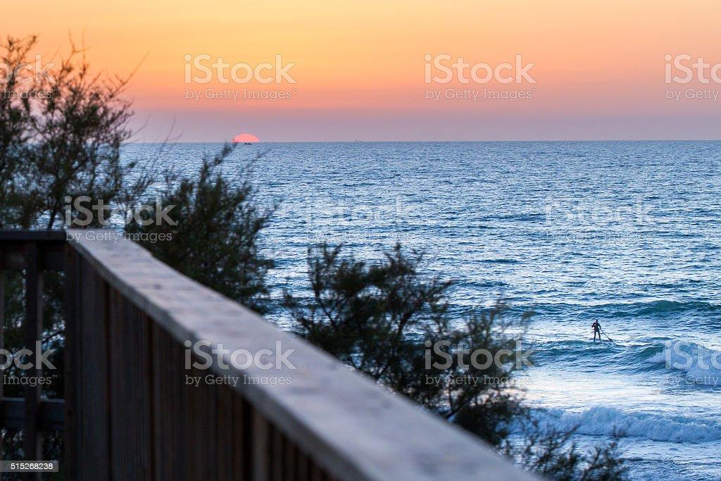 Sunset sea surfer silhouette. stock photo