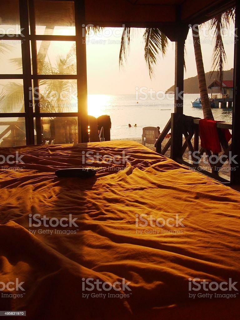 Sunset Sea View from Beach Hut stock photo