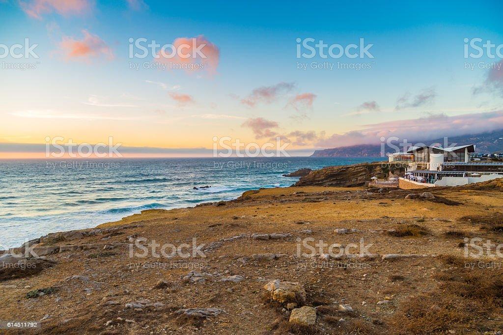 Sunset seascape near Guincho beach and Cascais coastline, Portugal stock photo
