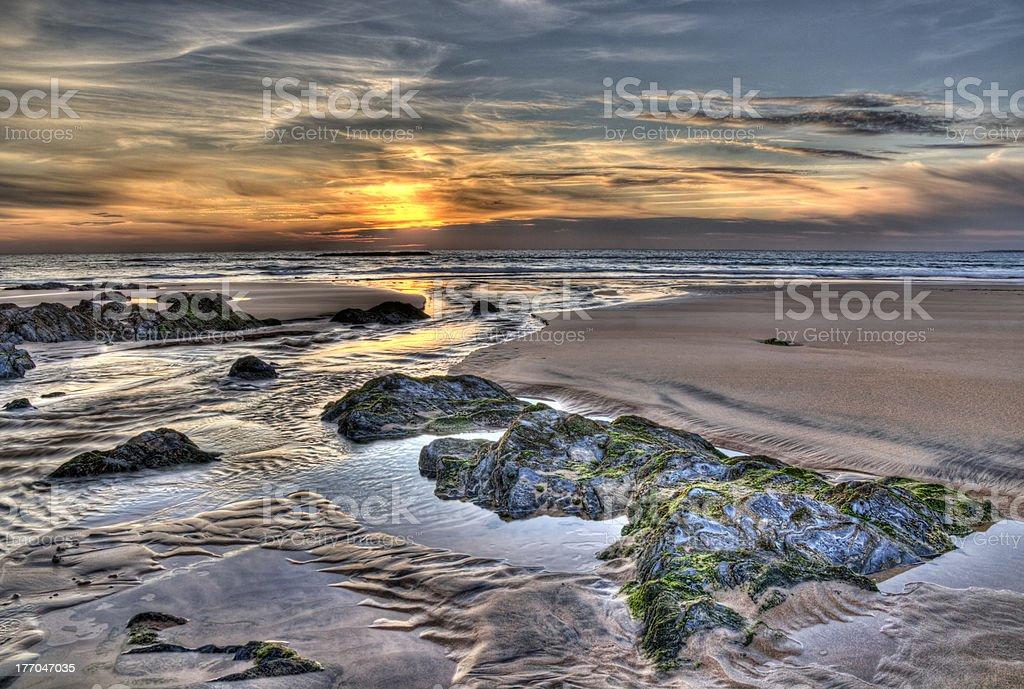 Zachód słońca w Krajobraz morski zbiór zdjęć royalty-free