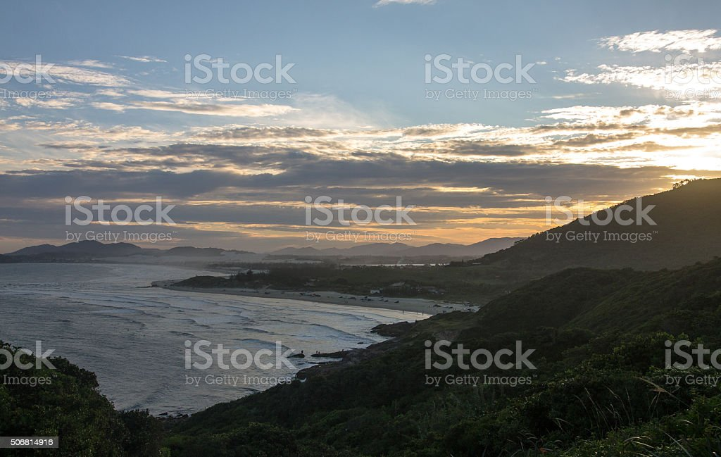 Sunset seen from the Rosa Sul hills, Luz Beach stock photo