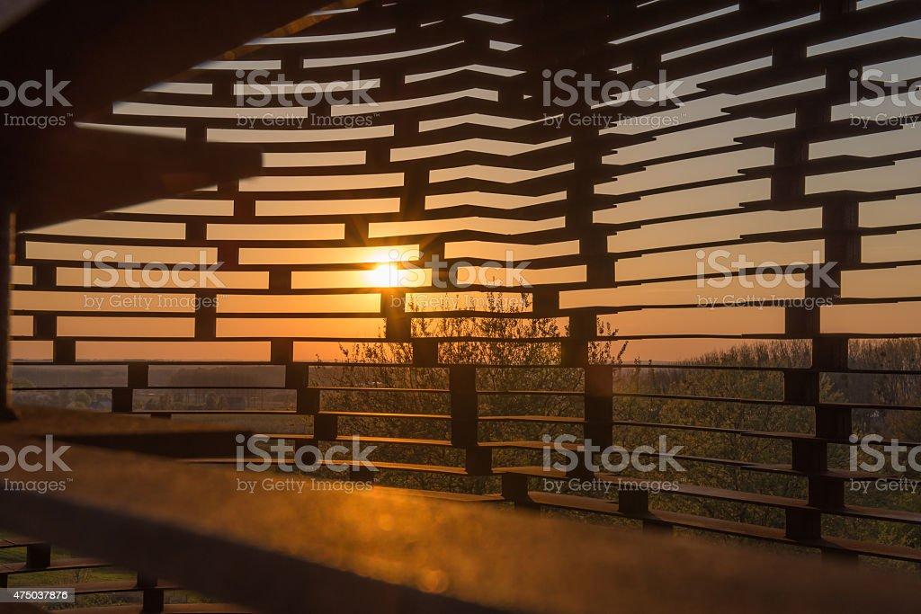 Sunset see-through church Borgloon stock photo