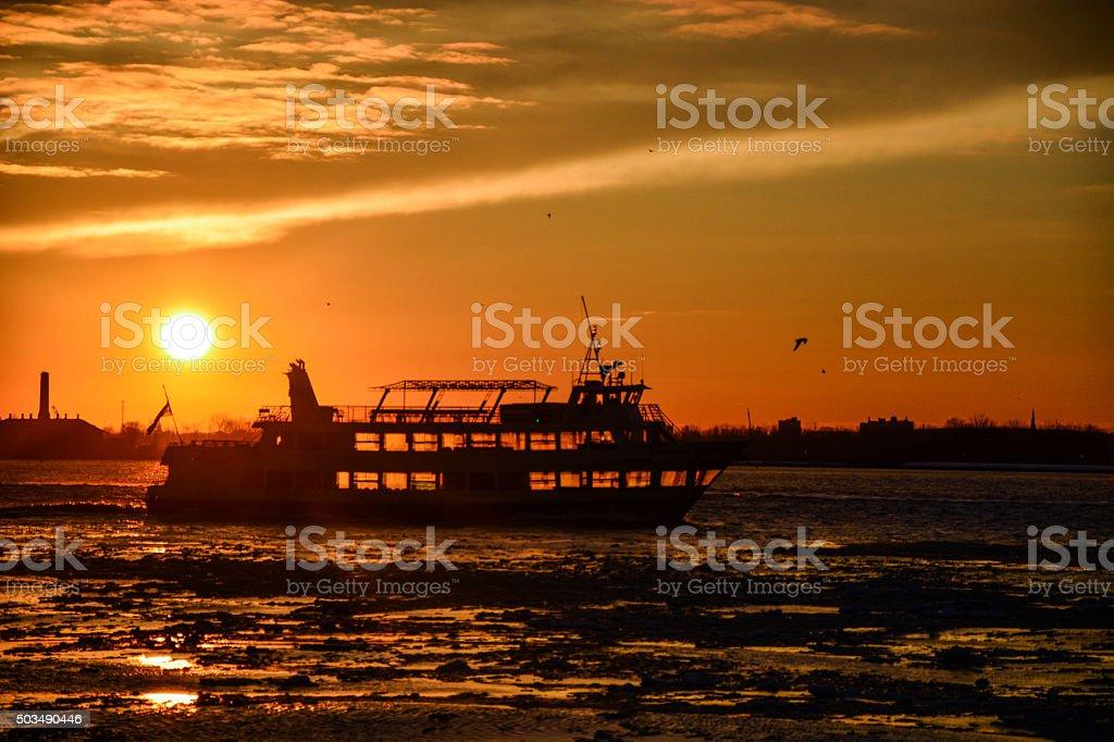 sunset ship stock photo