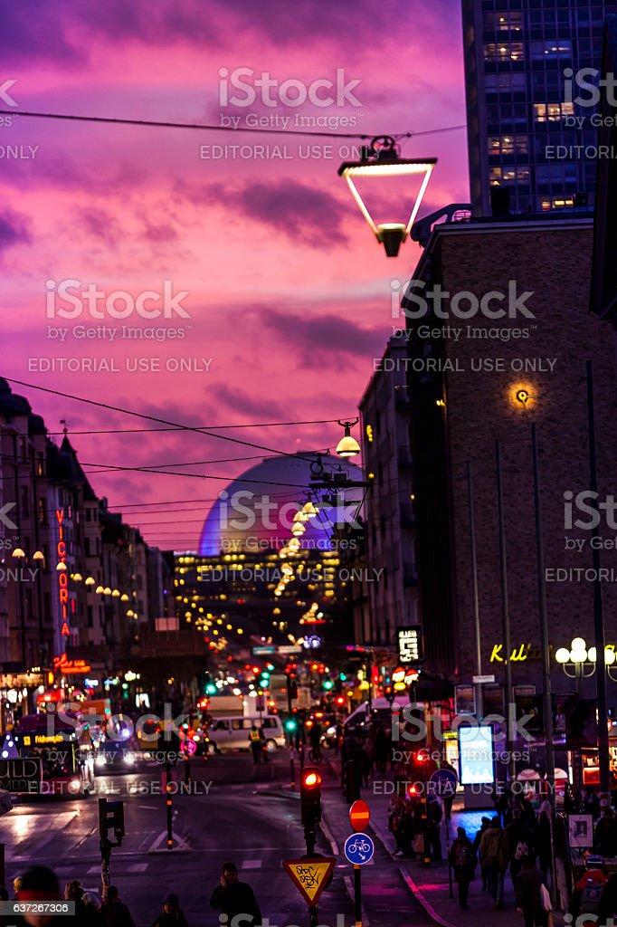 sunset shopping stockholm stock photo
