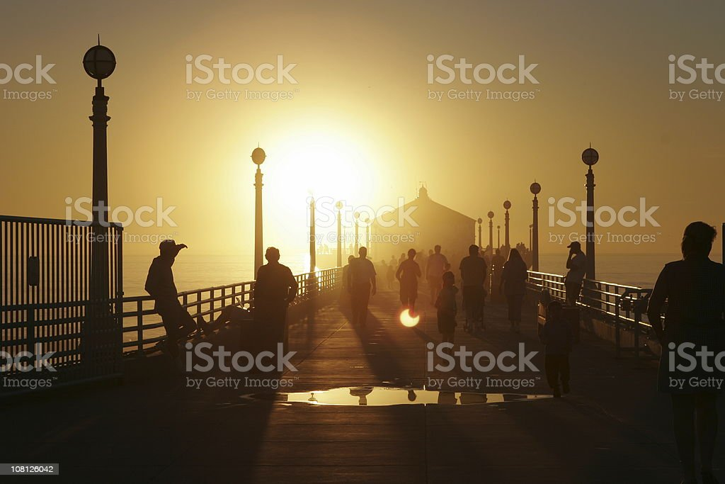 Sunset Silhouette at the Pier royalty-free stock photo