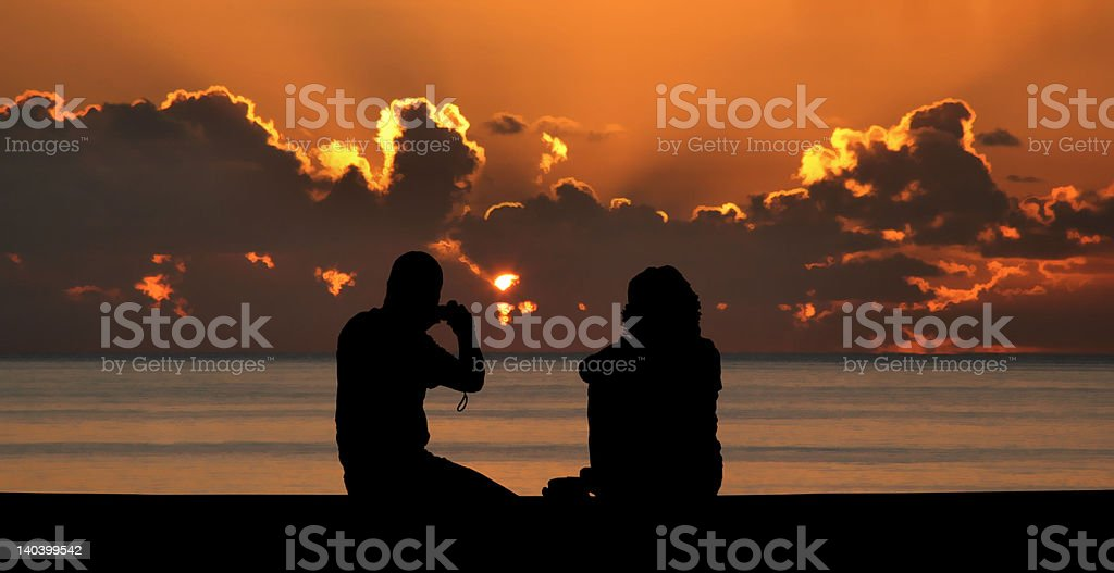 'Sunset', Silhouette, Couple royalty-free stock photo