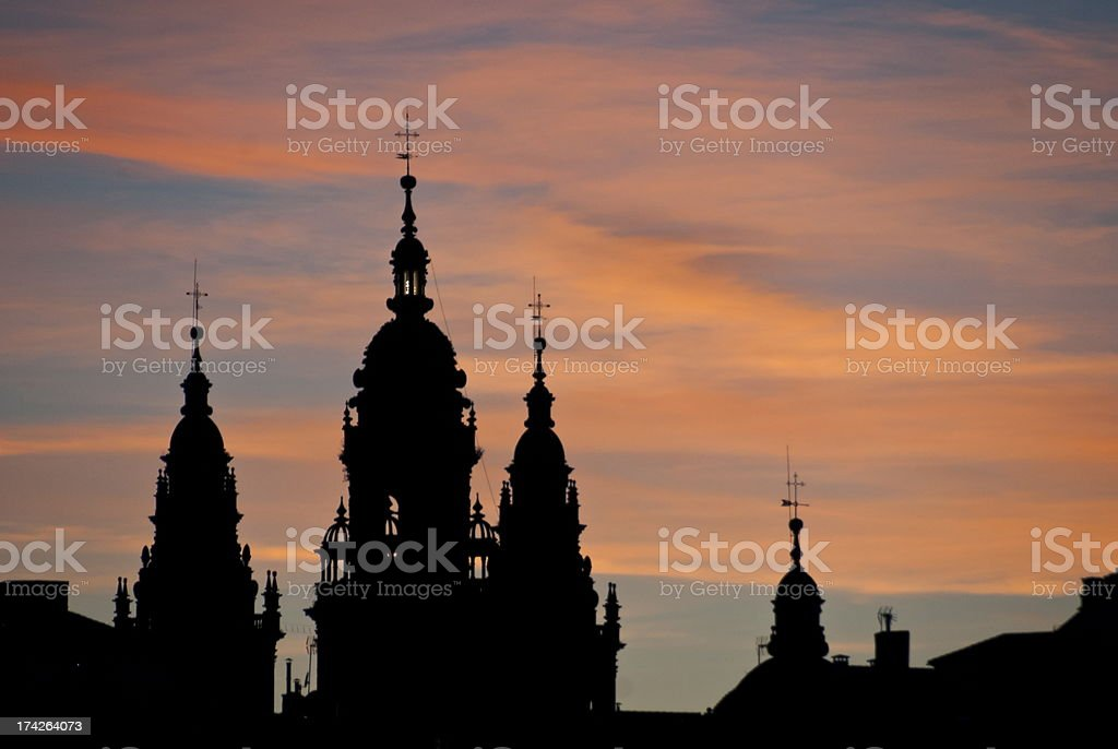 Sunset silhouette of Cathedral in Santiago de Compostela. royalty-free stock photo
