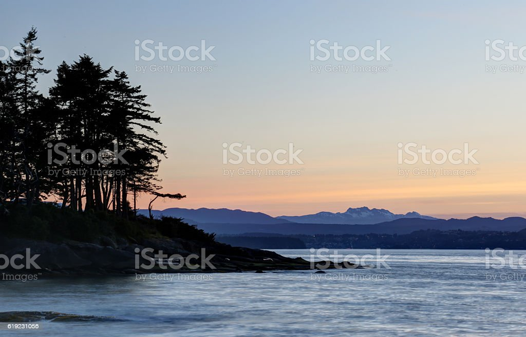 Sunset Silhouette on Gabriola Island stock photo