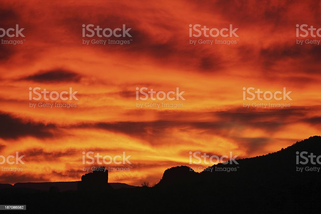 Sunset Silhouette Orange Sky stock photo