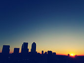 Sunset silhouette over Canary Wharf