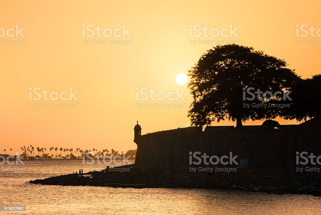 Sunset silhouette San Juan stock photo