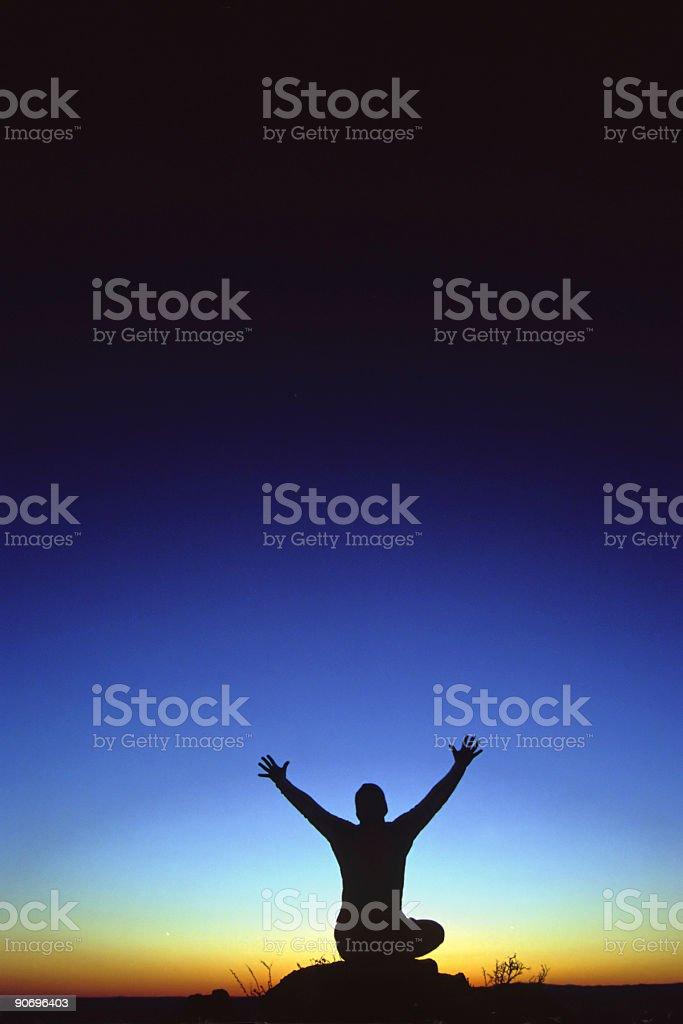 sunset silhouette yoga sky royalty-free stock photo