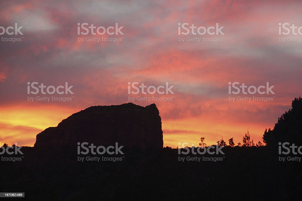Sunset Silouette Butte Arizona royalty-free stock photo