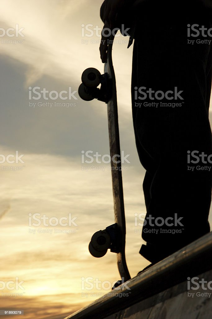 sunset skater silhouette royalty-free stock photo