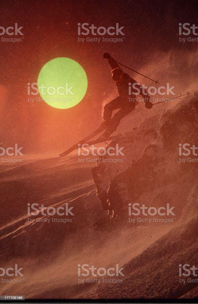 Sunset skier stock photo