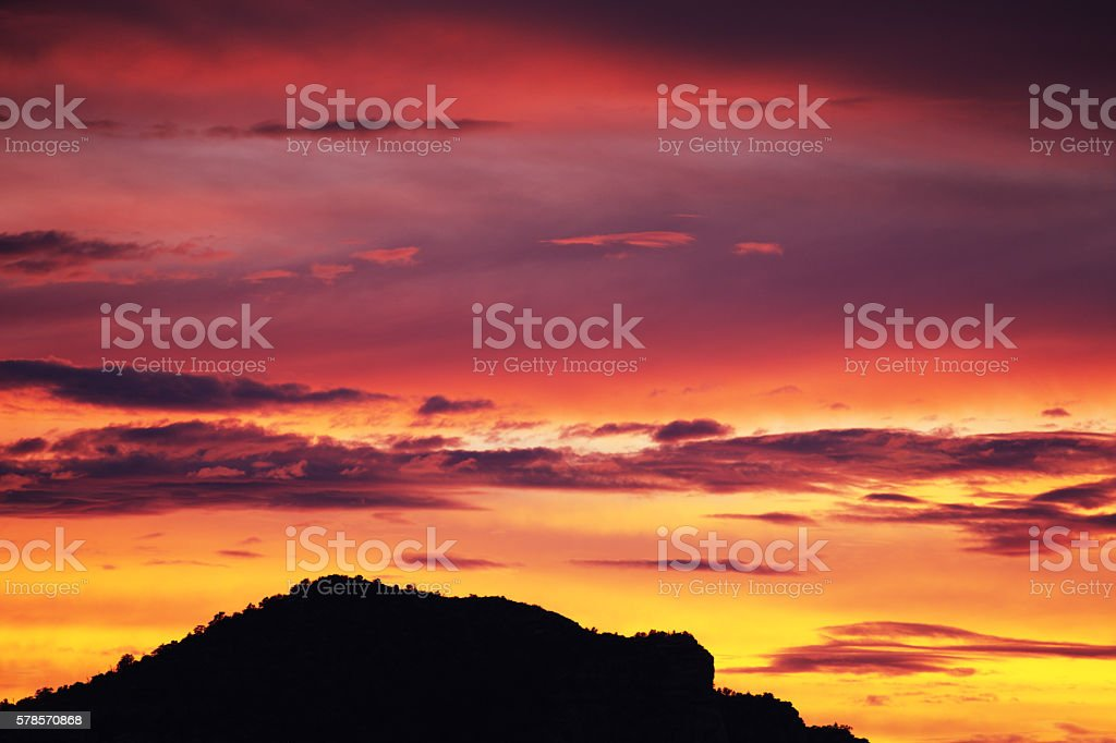 Sunset Sky Arizona Mountain Ridge Silhouette stock photo