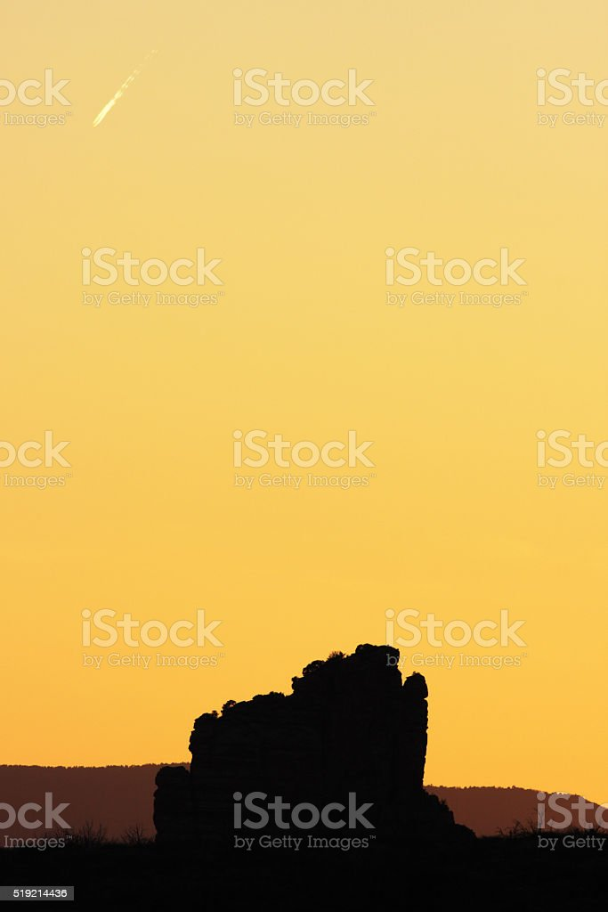 Sunset Sky Butte Landscape Silhouette stock photo