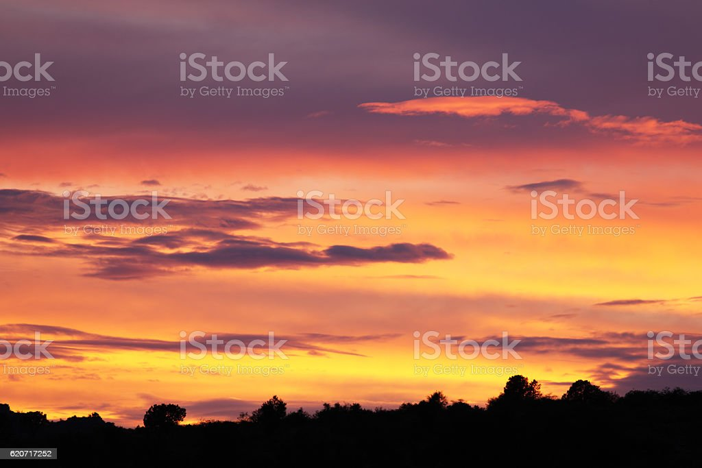 Sunset Sky Cumulus Stratus Clouds Landscape Silhouette stock photo