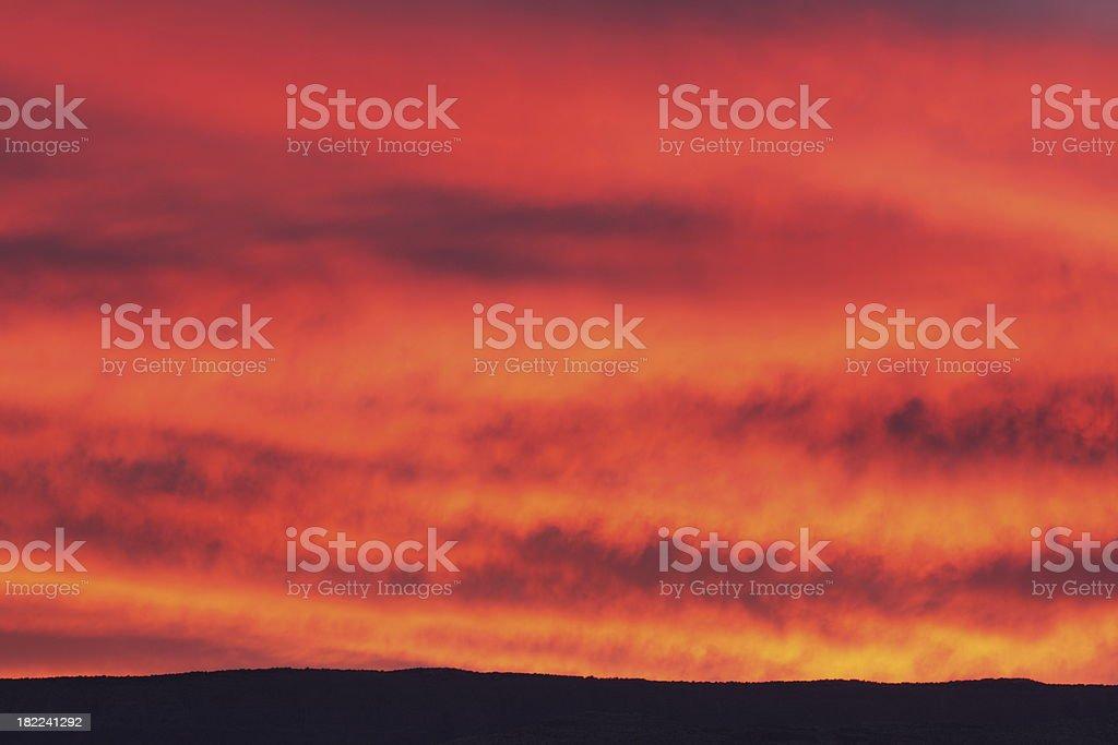 Sunset Sky Fiery Desert Horizon royalty-free stock photo