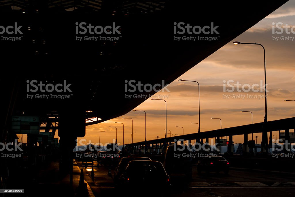 Sunset sky from Suvannabhumi Airport Entrance stock photo
