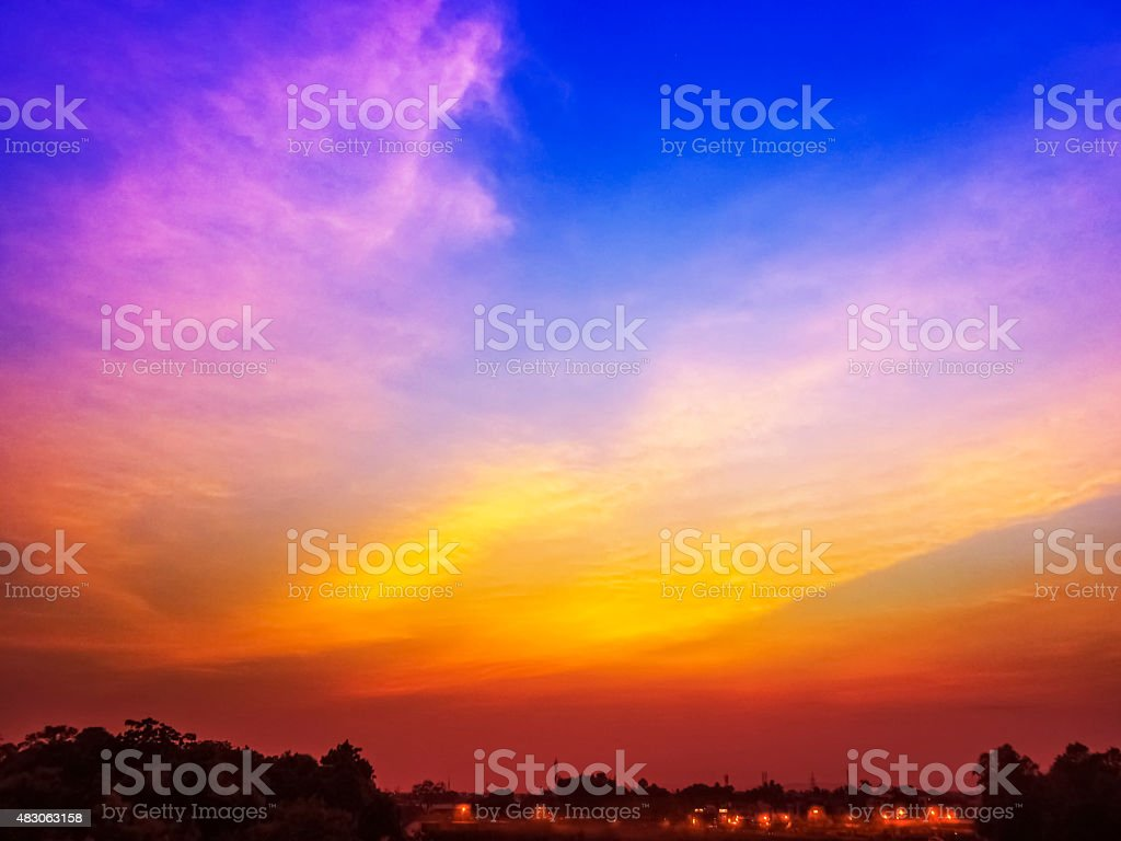 Sunset sky of multiple colors of Asia. stock photo