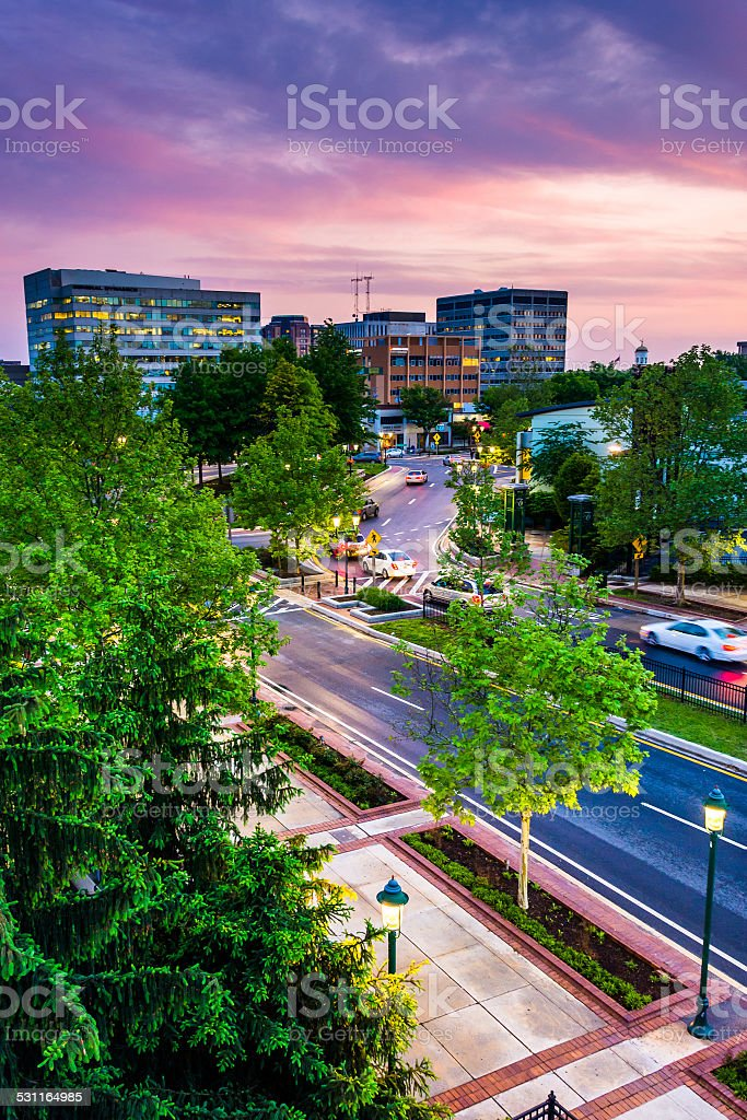 Sunset sky over buildings in Towson, Maryland. stock photo