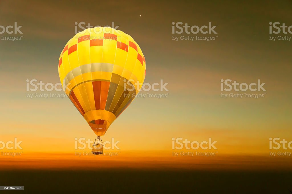 Sunset sky stratosphere background, pictured from plane. stock photo