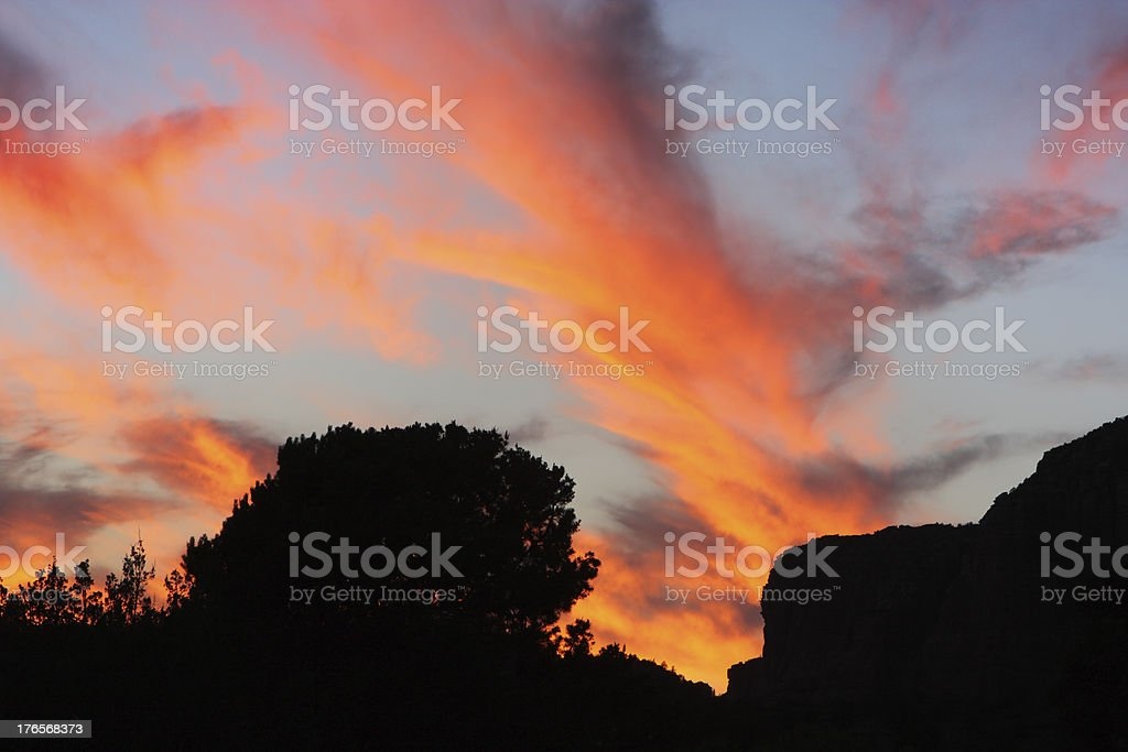 Sunset Sky Wilderness Landscape Silhouette royalty-free stock photo
