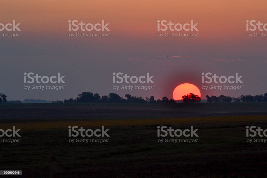 Sunset skyline countryside stock photo