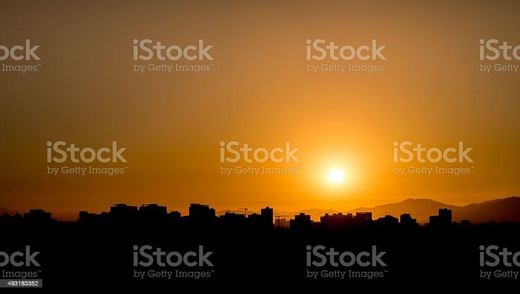 Sunset Skyline in Santiago de Chile royalty-free stock photo