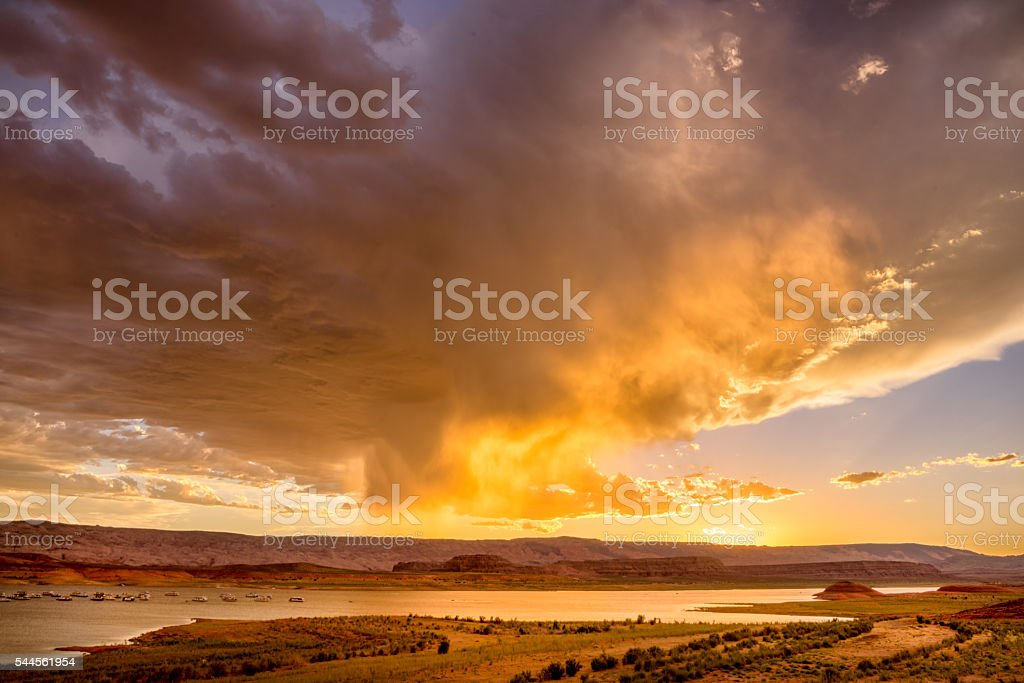 Sunset Skyscape Over Lake Powell stock photo