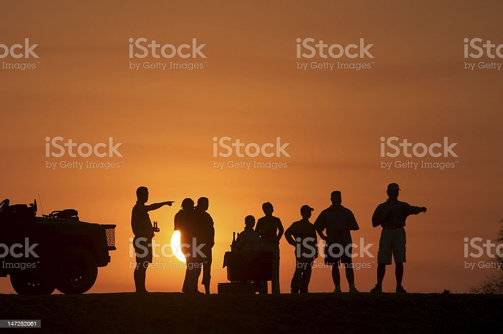 Sunset snacks on game drive royalty-free stock photo