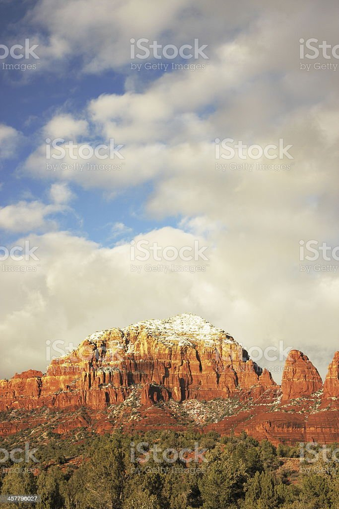 Sunset Snow Sedona Red Rock Butte royalty-free stock photo