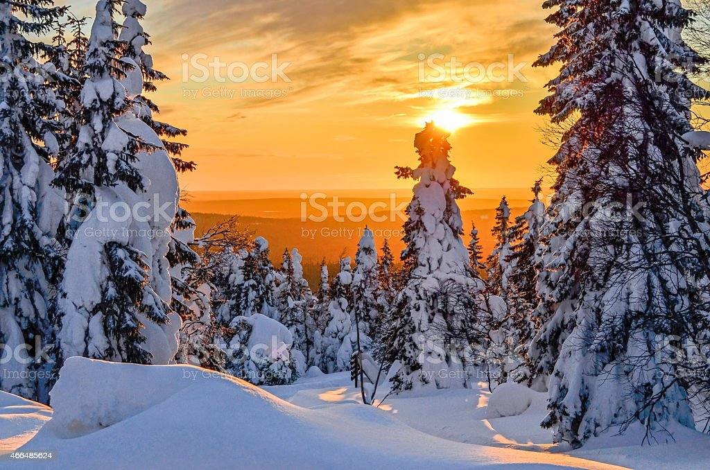 Sunset sparkling against snow covered landscape on Lapland stock photo