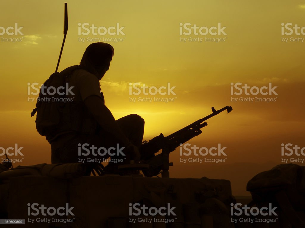 Sunset special forces soldier stock photo