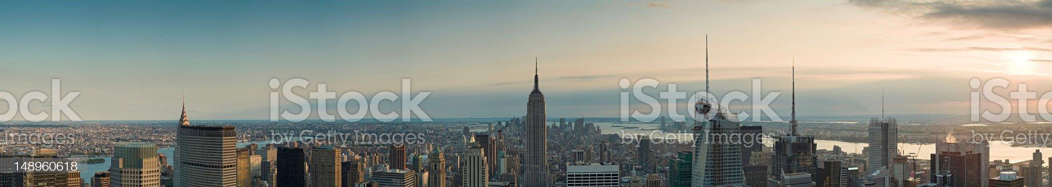 Sunset spires Manhattan panorama royalty-free stock photo