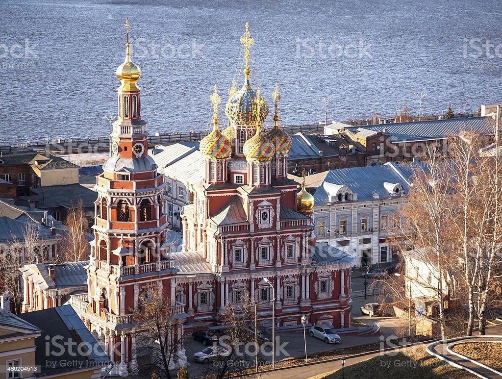 Sunset spring view Stroganov Church Nizhny Novgorod stock photo