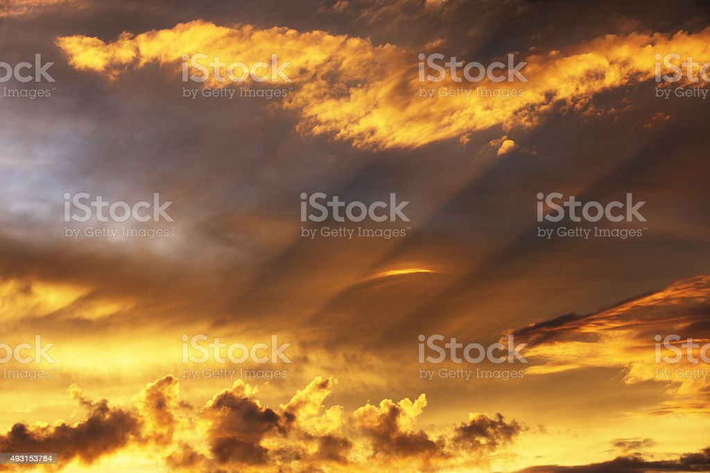 Sunset Storm Cloud Rayleigh Scattering stock photo