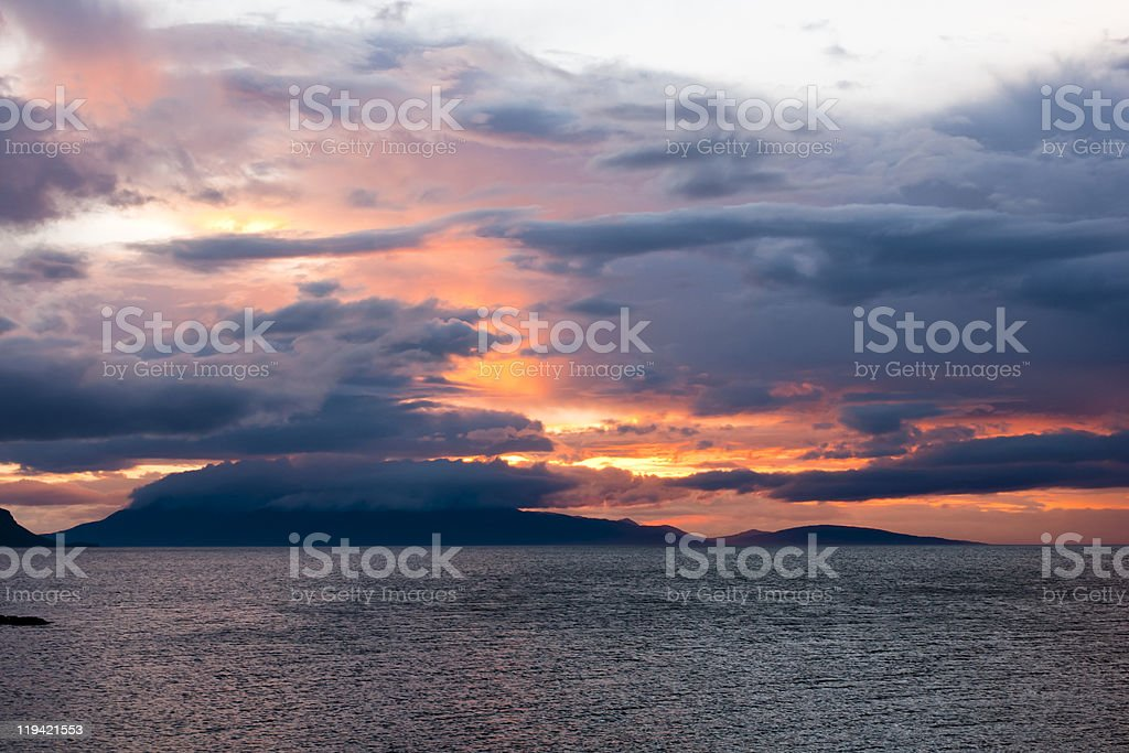 Sunset, Storm Clouds, Inner Hebrides royalty-free stock photo