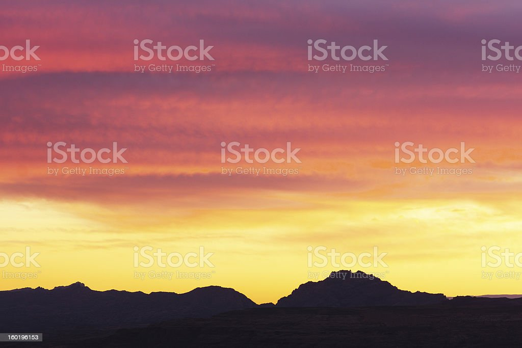 Sunset Stratus Clouds Southwest Landscape Silhouette royalty-free stock photo