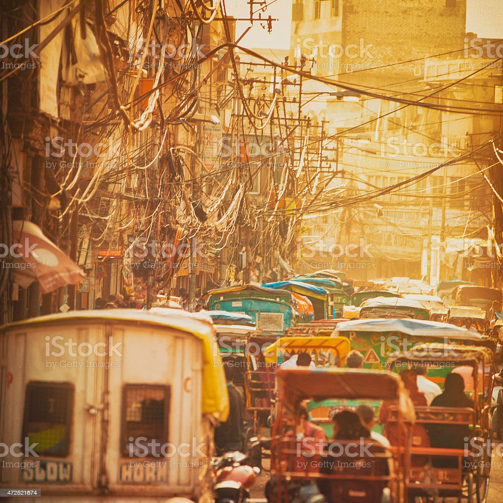 Sunset Street in Old Delhi, India stock photo