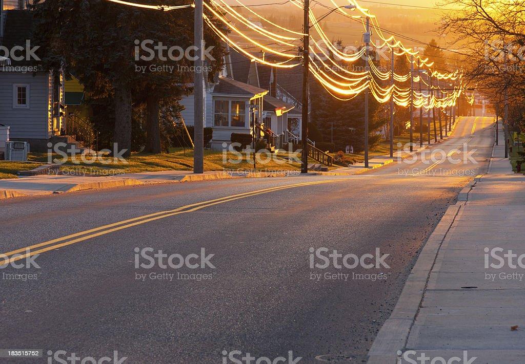 Sunset Street stock photo