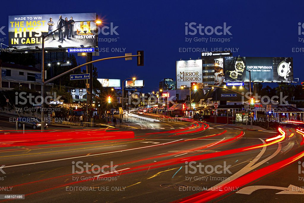 Sunset Strip Comes to Life At Night stock photo